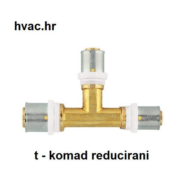 Press t-komad za Pex Alu Pex cijev fi 20-16-20 mm - reducirani