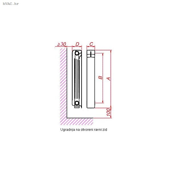 Aluminijski radijator, članak 350 mm - LIPOVICA Orion 350 (113 W)