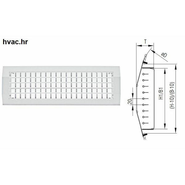 Ventilacijska rešetka 600X75 za ugradnju u spiro cijevi